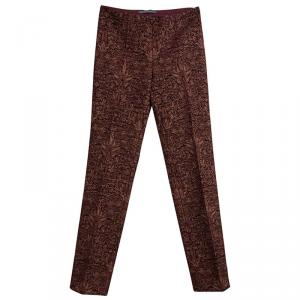 Alberta Ferretti Burgundy and Gold Floral Jacquard Tapered Pants S