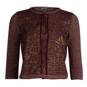 Alberta Ferretti Burgundy and Gold Floral Jacquard Lurex Knit Cardigan S