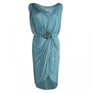 Alberta Ferretti Silk Embellished Buckle Draped Dress S