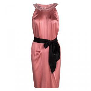 Alberta Ferretti Pink Silk Embellished Neck Detail Belted Sleeveless Dress S