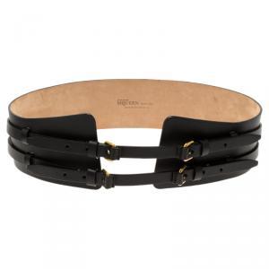 Alexander McQueen Black Leather Wide Waist Belt 90CM