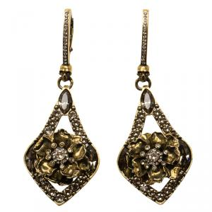 Alexander McQueen Crystal Jeweled Floral Gold Tone Long Earrings