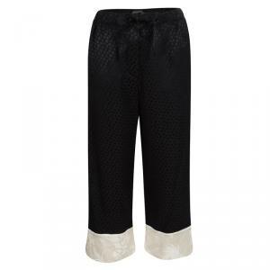 Alexander McQueen Black Silk Jacquard Contrast Hem Drawstring Detail Pants S