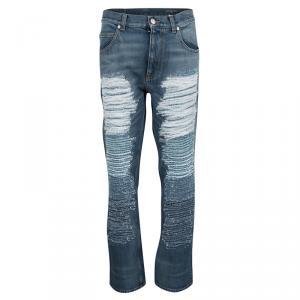 Alexander McQueen Indigo Washed Denim Faux Distressed Effect Jeans M