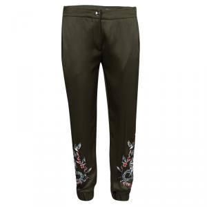 Alexander McQueen Olive Green Silk Snake Embroidered Jogger Pants S