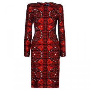 Alexander McQueen Red Printed Long Sleeve Dress S