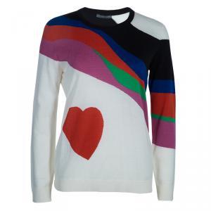 Alexander McQueen Multicolor Heart Intarsia Print Sweater L