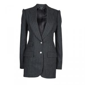 Alexander McQueen Grey Chalk Striped Wool Blazer M