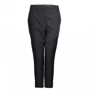 Alexander McQueen Grey Chalk Striped Wool Trousers M