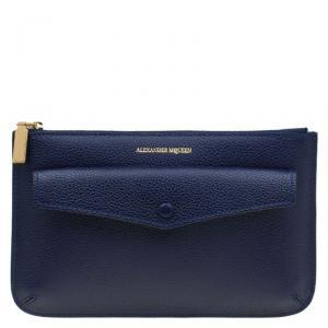 Alexander McQueen Dark Blue Leather Zip Pouch
