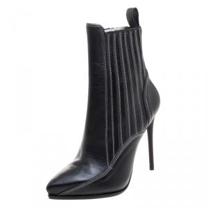 McQ by Alexander McQueen Black Leather Lex Chelsea Ankle Boots Size 36