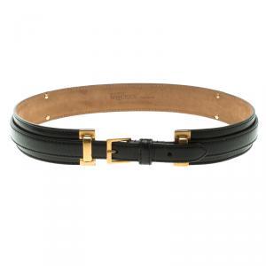 Alexander McQueen Black Leather Padded Belt 80 CM