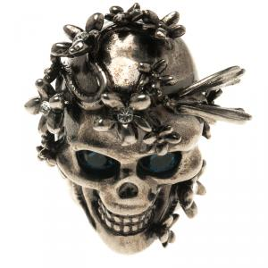 Alexander McQueen Crystal Flower Skull & Butterfly Silver Tone Chunky Ring Size 51