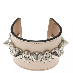 Alexander McQueen Pink Spiked Leather Extra Wide Cuff Bracelet
