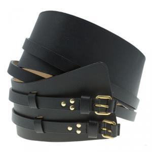 Alexander McQueen Black Leather Wide Waist Belt 90 CM