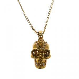 Alexander McQueen Skull Crystal Gold Tone Necklace