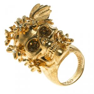 Alexander McQueen Butterfly and Flower Gold Tone Skull Ring Size 50