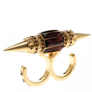 Alexander Mcqueen Crystal Spike Gold Tone Two Finger Ring Size 56