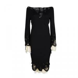 Alexander McQueen Black Wool Plisse Underlay Distressed Dress L