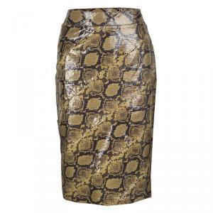 Alexander McQueen Mustard Brown Snakeskin Pattern Patent Leather Pencil Skirt M