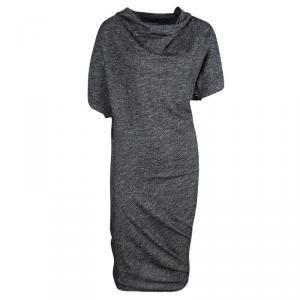 Alexander McQueen Grey Marled Knit Draped Asymmetric Dress S
