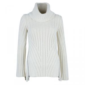 Alexander McQueen White Knit Turtleneck Sweater XS