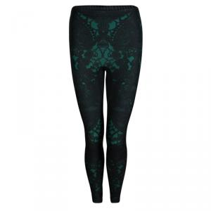 Alexander Mcqueen Dark Green Lace Print Leggings S