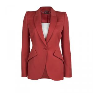 Alexander McQueen Red Notched Collar Tailored Wool Blazer S