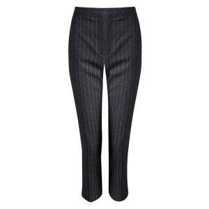 Alexander McQueen Grey Striped Wool Trousers M