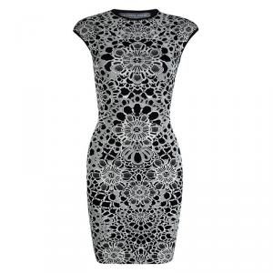 Alexander McQueen Monochrome Floral Jacquard Knit Sleeveless Bodycon Dress XS