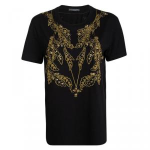 Alexander McQueen Black Knit Gold Chain Embellished T-Shirt M