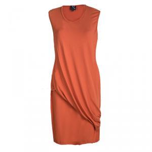 Alexander Mcqueen Orange Jersey Asymmetric Sleeveless T-Shirt Dress XL