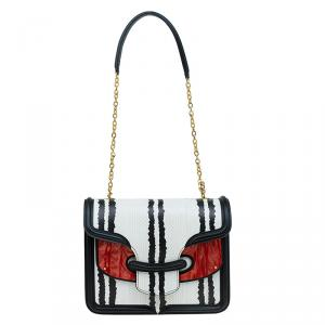 Alexander McQueen Black/White Python and Pony Hair Lucite Heroine Shoulder Bag