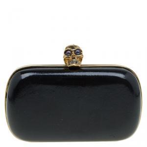 حقيبة كلاتش أليكساندر ماكوين صندوق جمجمة جلد لامعة سوداء
