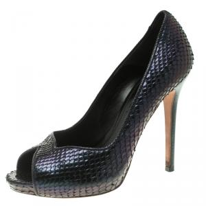Alexander McQueen Two Tone Python Metallic Leather Peep Toe Platform Pumps Size 38