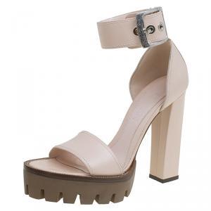 Alexander McQueen Blush Pink Leather Ankle Strap Platform Sandals Size 39.5