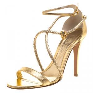 Alexander McQueen Gold Metallic Leather Skull Detail Sandals Size 39