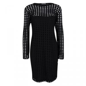 T By Alexander Wang Black Circular Cutout Detail Long Sleeve Dress L