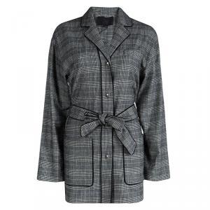 Alexander Wang Monochrome Glen Plaid Belted Long Jacket S