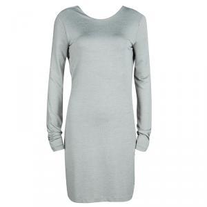 T By Alexander Wang Grey Knit Scoop Back Detail Long Sleeve Dress M
