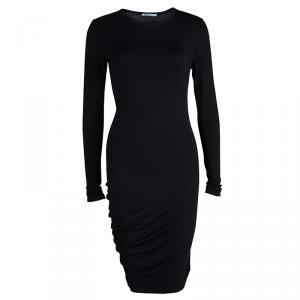 T Alexander Wang Black Knit Long Sleeve Asymmetric Dress S