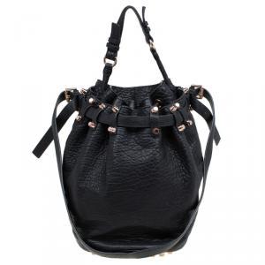 Alexander Wang Black Textured Leather Diego Bucket Bag