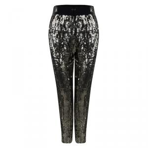 Alice + Olivia Antique Gold Sequin Embellished Pants S