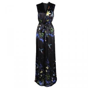 Alice + Olivia Marianna Black Printed Silk Belted Maxi Dress L