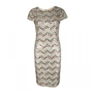 Alice + Olivia Beige Zig Zag Sequin Embellished Cap Sleeve Dress L