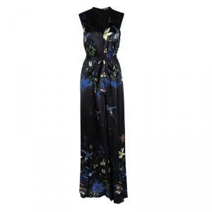 Alice + Olivia Black Marianna Enchanted Forest Print Silk Belted Dress M