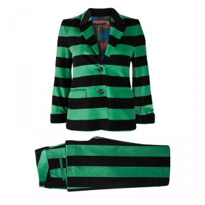 Alice + Olivia Green and Black Striped Velvet Pant Suit XS/S