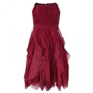 Alice + Olivia Kahlo Red Organza Ruffle Dress M