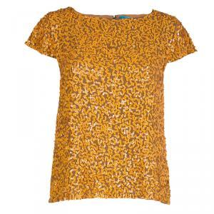 Alice + Olivia Sarita Orange Sequins Top L