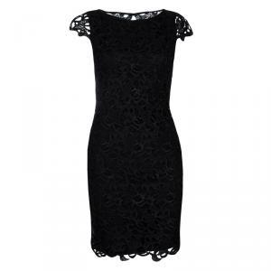 Alice + Olivia Clover Black Lace Cap Sleeve Dress XS
